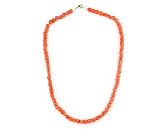 Mediterranean sea red coral barrel necklace.