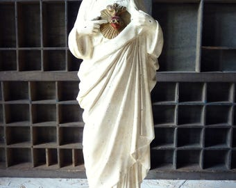 Golden Heart and white - painted plaster - old Statue Christ religious statue