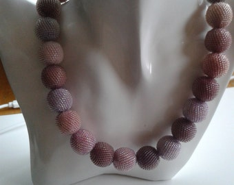 Beaded Bead Necklace, One of a kind OOAK necklace  – Rose lilac amethyst