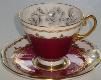 Foley Bone China Grey Roses and Burgundy Cup and Saucer