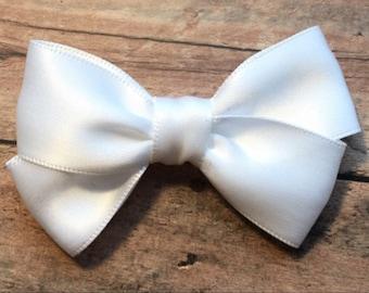 Small White Satin Bow on Elastic Headband or Clip, Buy 3 Get 1 Free, Small White Hair Bow, White Hair Bow, White Satin Hair Bow