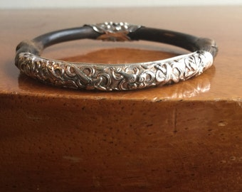 Antique Chinese Bamboo Repoussè Sterling Station Bracelet.