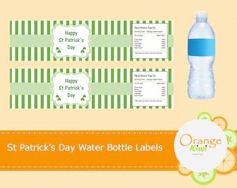 Shamrock Water Bottle Labels, St Patrick's Day Water Bottle Wraps, Waterproof Water Bottle Labels, Shamrock Party Decor