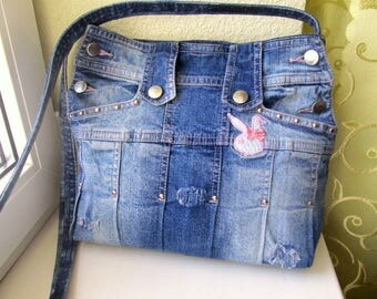 Upcycled denim bag, crossbody denim bag, padded laptop carrying case, upcycled distressed jeans bag, ripped denim bag, stonewashed jeans bag