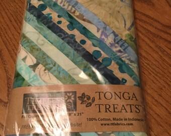Tonga Treat Fat Quarter Bundle, Surf, Greens Aquas, Tans Fabric Batik