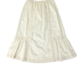 Vintage Clothing, Petticoat M L, Slip Skirt, Cotton Petticoat, 70s Petticoat, Ivory Petticoat, Lace Slip, Boho Skirt, SIZE M L 10 12