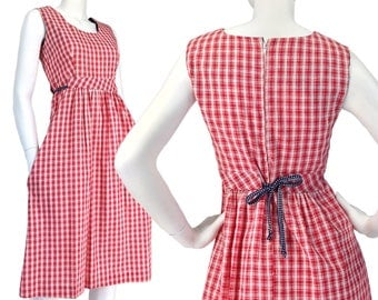 Vintage Clothing, Gingham Dress XS S, 70s Dress, July 4th Dress, 70s Sun Dress, Summer Dress, Sleeveless Dress, Boho Dress, SIZE XS S 2 4