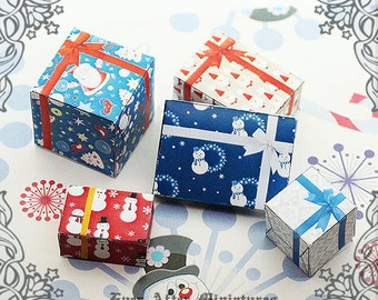 5 Miniature Christmas Gift Box Set – 1:12 Santa Claus Snowman Snowflake Dollhouse Miniature Present Christmas Gift Box Printable DOWNLOAD