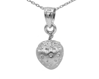 14k White Gold Strawberry Necklace
