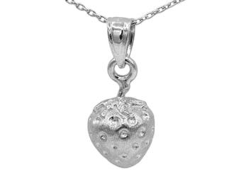 14k White Gold Strawberry Necklace