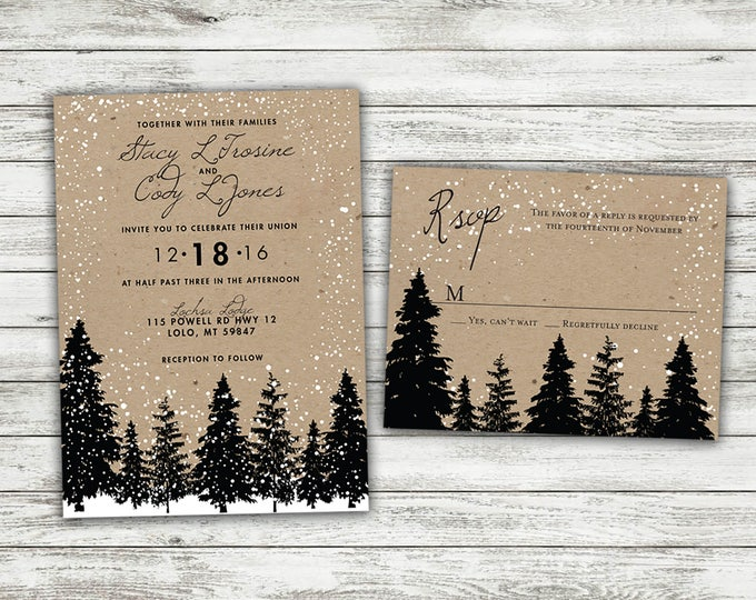 Rustic Winter Wedding Invitations, Snow Wedding Invitation, Woodsy, Rustic, Tree, Woods, Kraft, December, January, Christmas Themed Invites