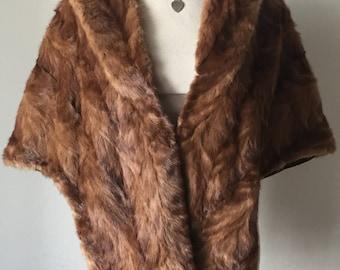 Bright brown female soft fur bolero, from real mink fur, velvet bolero, festive look, vintage style, size - universal