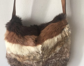 Real handmade crossbody bag, made from real rabbit fur soft fur fashionable bag new designer bag women's in browns color size - medium.
