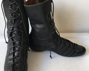 Black men's sporty boots, from real leather, modern boots, boots on laces, vintage style, men's shoes, size - 40.