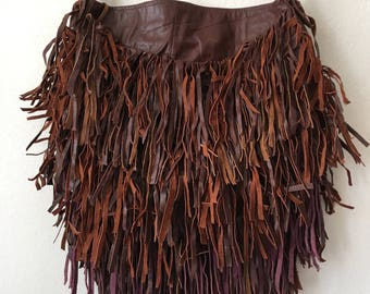 Real crossbody bag handmade bag soft&genuine leather with elements of fashionable leather fringe new women's bright brown color size-medium.