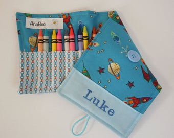Personalized Crayon Roll - To the moon, crayons INCLUDED, Crayon roll-up, pencil case, 12+ crayons