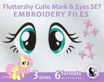 My Little Pony - Fluttershy Cutie Mark & Eyes SET - Embroidery Machine Design