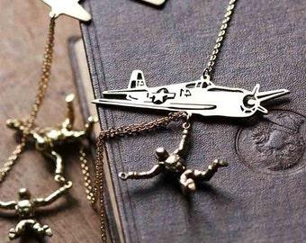 Parachute set Necklace / Linen Jewelry / Airplane Set Necklace