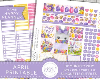 Happy Planner April Stickers Kit, Easter Planner Kit, April Planner Stickers, Easter Stickers, Mambi Planner Stickers, HPMV120