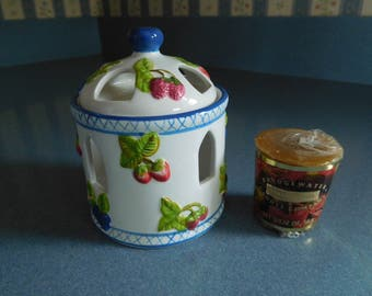 Ceramic Tealight/Votive Holder with Votive Candle in Fruit Design Like New Never Used