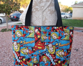 Cute Large Supergirl Tote Purse with Black Liner