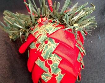 Fabric pinecone ornament