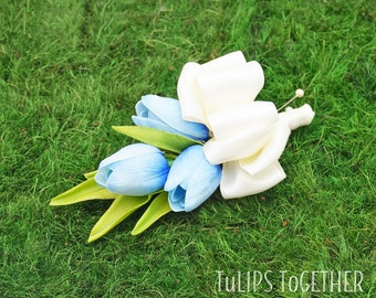 Blue Real Touch Tulip Corsage - Ready to Ship for Your Wedding - Customize Your Real Touch Tulip Corsage Pin or Wrist Your Wedding Colors
