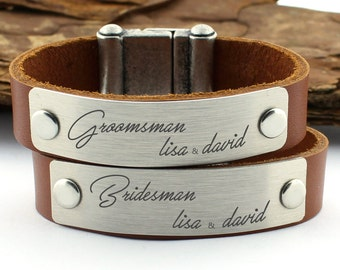 Personalized Bracelet, Groomsman Bracelet, Bridesmaid Bracelet, Groomsmen gift, Bridesmaid gift, groomsman Gift, Groomsmen Bracelet, Leather