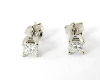 Vintage 14K White Gold Princess Cut Diamond Stud Earrings .33 carats #1314
