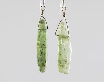 Green kyanite sterling earrings