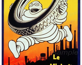 Vintage 1926 Michelin Tyres Advertising Poster Print