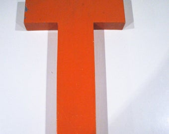 "Industrial zinc ""T"" sign letter, orange"
