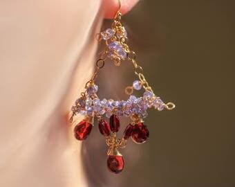 Red Garnet Earrings, Tanzanite Earring Tanzanite Chandelier Earring Blue Gemstone Earrings Bridal Earrings Gold Filled Wire Wrapped Earrings