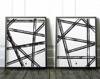 Intersecting Lines | Set of 2 Geometric Abstract Giclee Art Print | Scandinavian Art | Modern Poster | Extreme Minimalism | Black and White