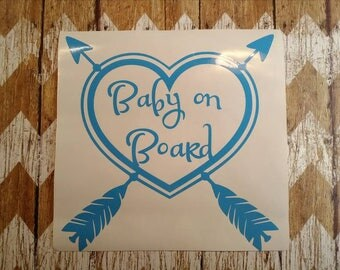 Baby On Board, Decal, Auto Decal, Heart and Arrows Decal, Sticker.