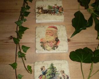 Heavy Retro Style English Christmas Ceramic Drink Coasters