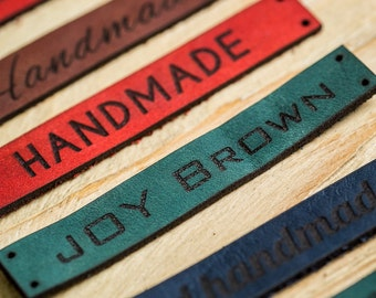 Custom Leather Labels, custom clothing labels, Personalized Knitting Labels leather labels Leather Tags for Knitting handmade leather labels