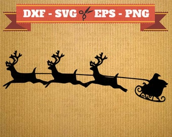 Santa SVG Christmas vector files for cricut, Santa cutting files, clipart santa, DXF files christmas, silhouette sled, svg sled