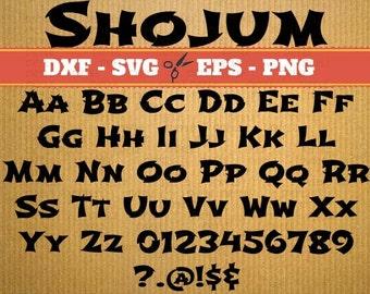 Shojumaru Script Monogram Svg Font; Svg, Dxf, Eps, Png; Digital Monogram, Calligraphy Script, Cursive Svg Font, Silhouette, Cricut, Cut File