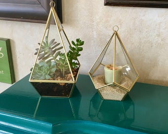 Geometric Glass Terrarium / Container with Gold Detail
