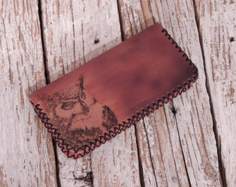 Handmade, Women's Leather Wallet/Printed Wallet/Owl/Tree of Life