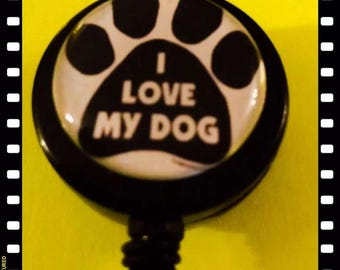 I love My Dog Retractable Name Badge Pull Reel ID Holder Lanyard Alligator Clip