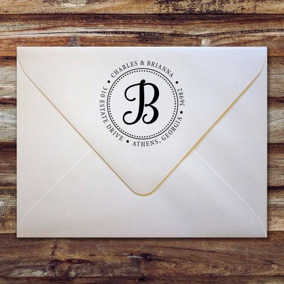 Custom return address stamp monogram letter round for Self inking letter stamps