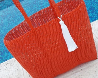ONE LEFT! Large Plastic Beach Bag/Tote. Red  with White Tassel/Pom Pom! Handmade in Guatemala. Perfect Pool, Beach or Basket Bag!