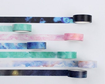 Starry Galaxy Japanese Washi Tape, Masking Tape, Scrapbooking Stickers, Planner Stickers - WT330