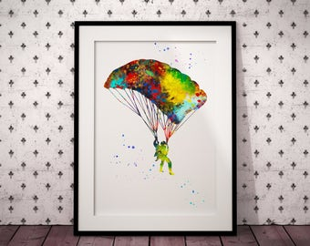 Colorful Parachuter, Watercolor Room Decor, Skydiving, Parachuting, Home Decoration, gift, Instant Download (389)