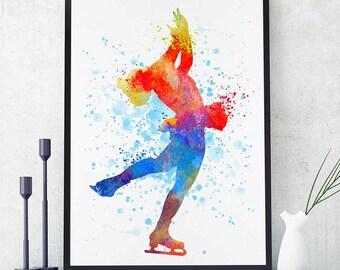 Ice Skating Party, Figure Skating Gifts, Skater Wall Art, Watercolor Print, Sports Decor (N012)
