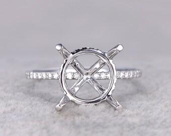 10mm stone semi mount ring,White gold ring setting,14k,Moissanite wedding band,moissanite around Round stone,Solitaire ring,Prong set