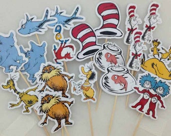 Dr Suess Grinch Lorax  Cupcake Toppers Topper with stick Set of 18 Custom Made