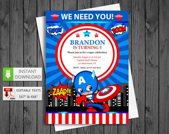 Printable invitation Captain America in PDF with Editable Texts, Super heroes party Invitation, edit and print yourself! Instant Download!